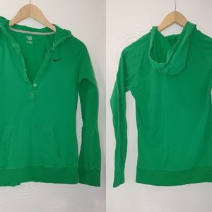 Nike Hooded Long Sleeve Henley Tee Green M